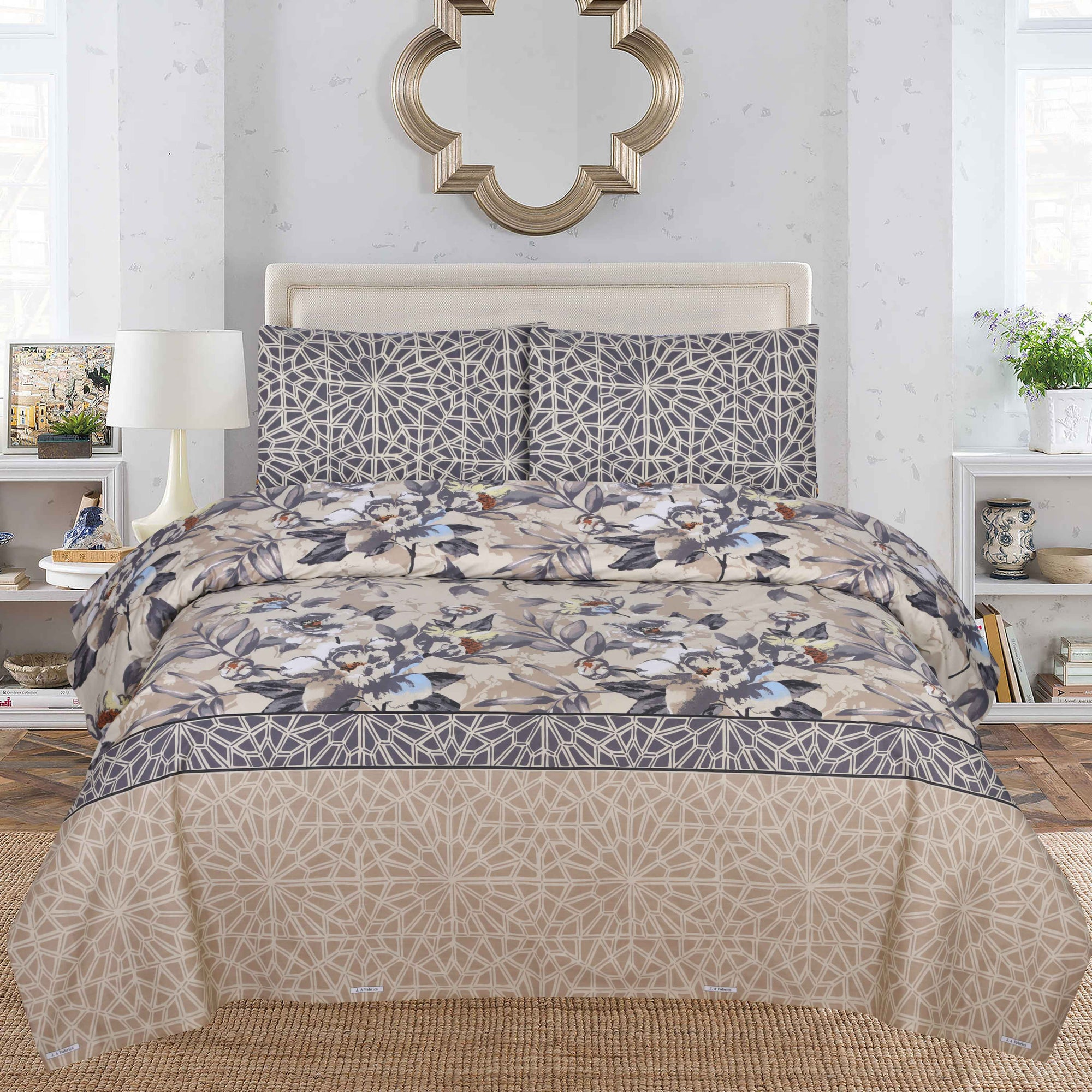 Grace D120 - Cotton PC King Size Bedsheet with 2 Pillow Covers.