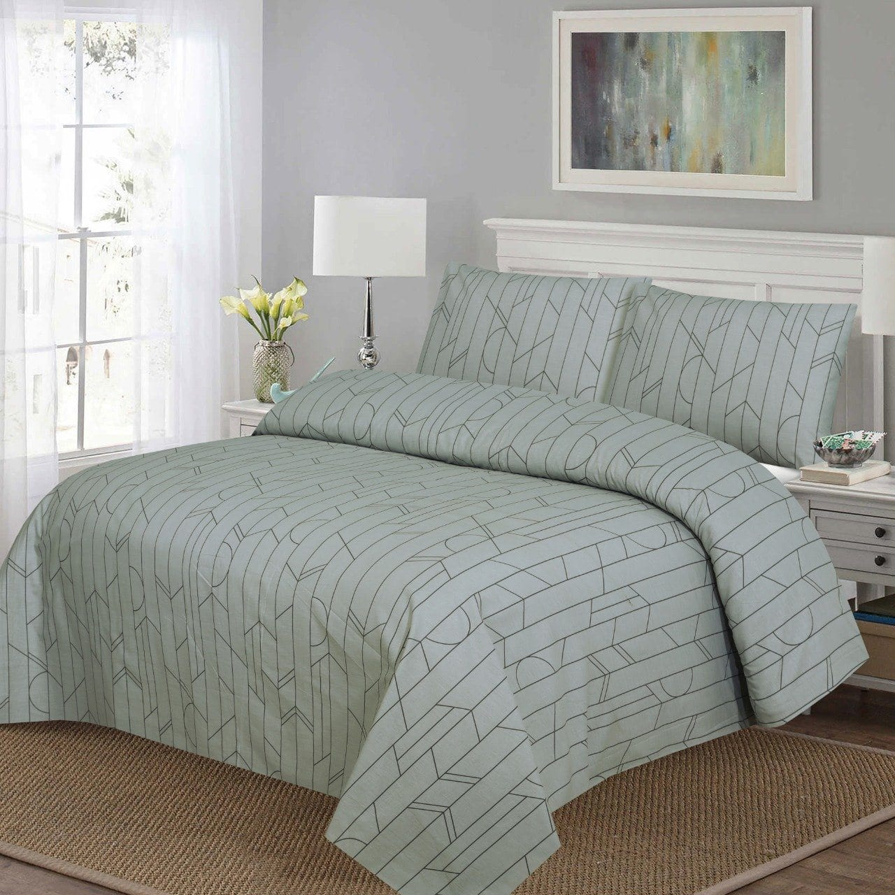 Grace D220-Cotton PC King Size Bedsheet with 2 Pillow Covers.