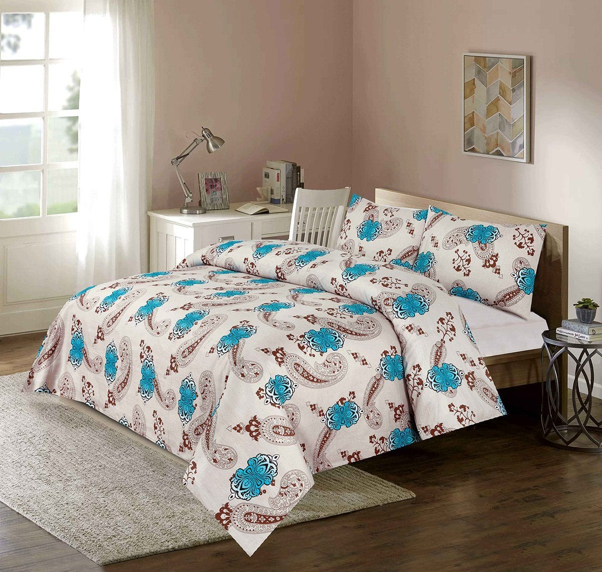 Grace 64-Reactive cotton Satin Quality king size Bedsheet with 2 pillow covers.