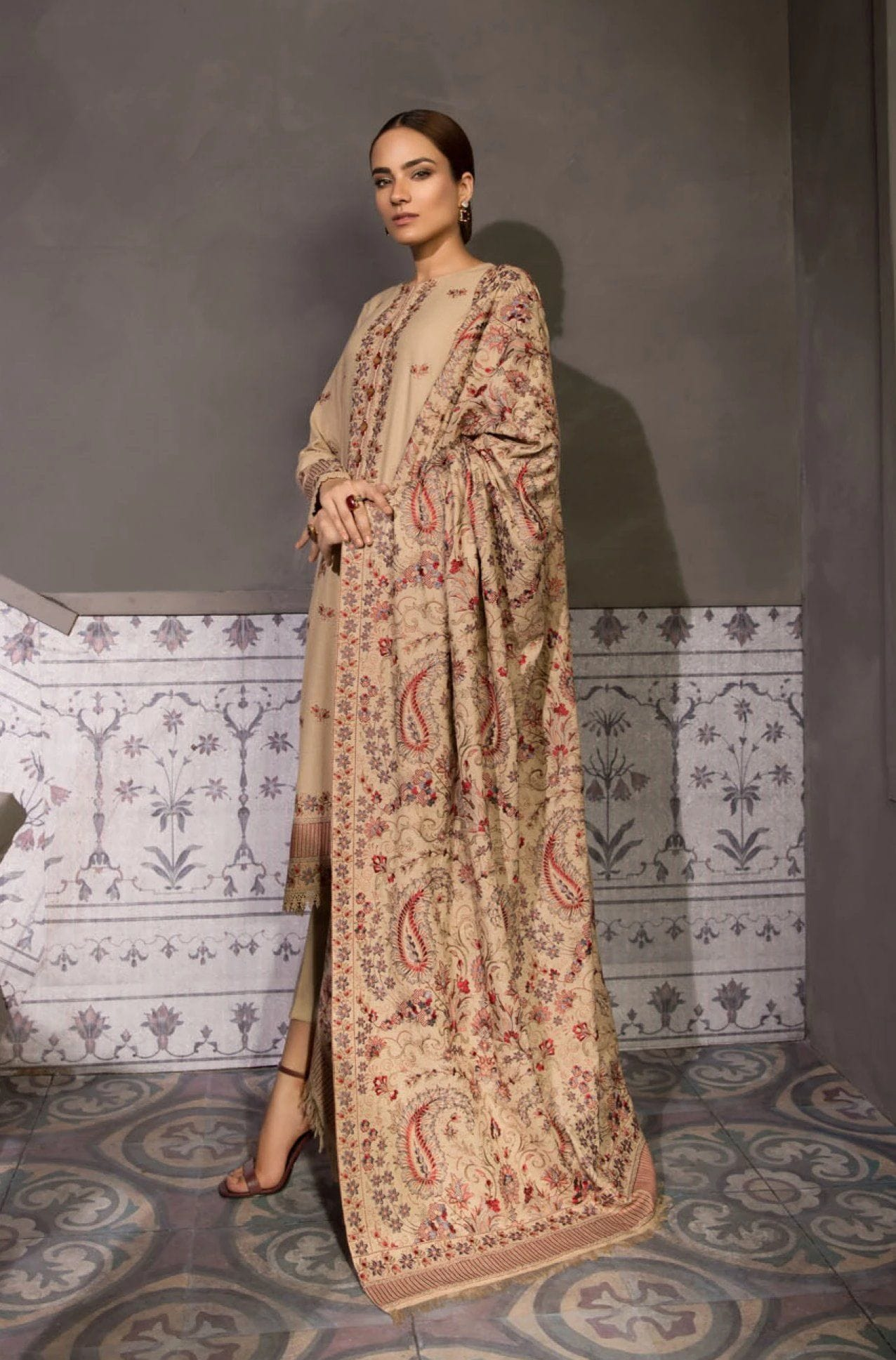Beige Rose - Heavy Embroidered Karandi Lawn Beige Shawl - gracestore.pk