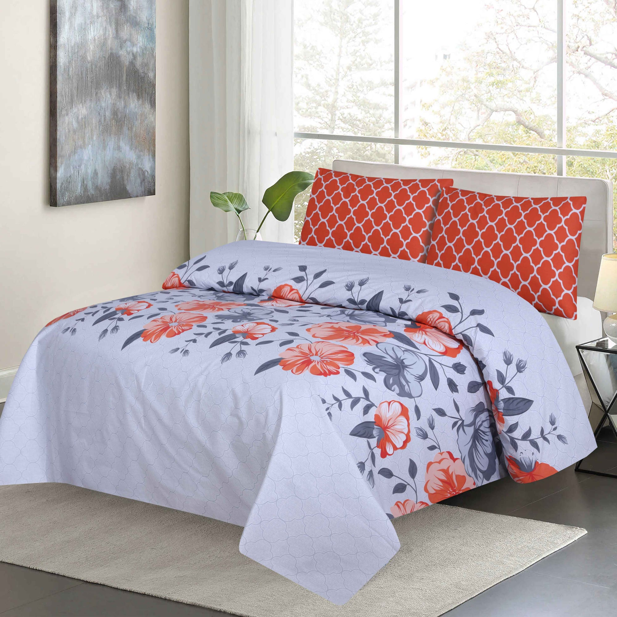 Grace D100 - Cotton pc king size Bedsheet with 2 pillow covers.