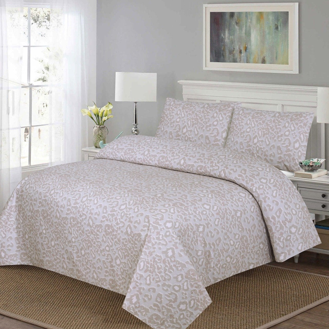 Grace D216-Cotton PC King Size Bedsheet with 2 Pillow Covers.