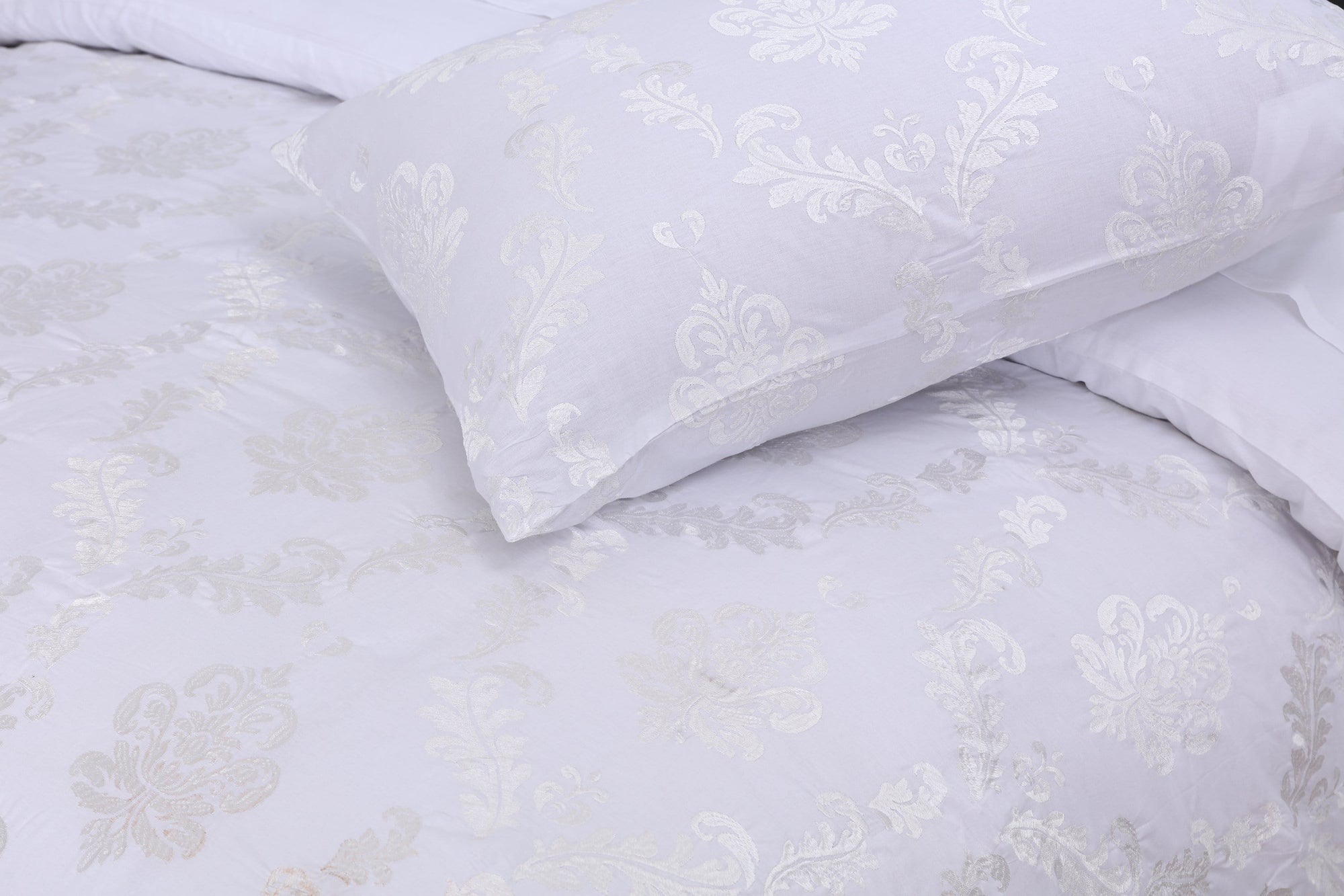 Grace White Lily D05 - 6PC Embroidered Luxury Sateen Duvet Cover Set King Size