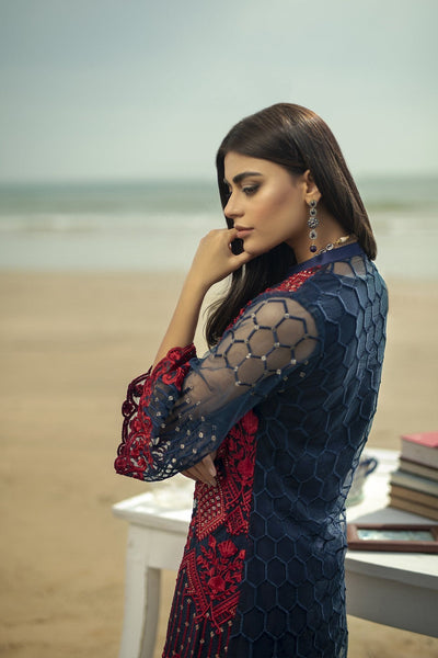 Azure red-Embroided Net 2pc lawn dress shirt & trouser. - gracestore.pk