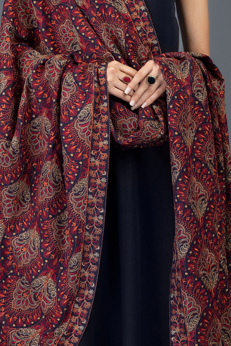 Beselle - Embroidered Karandi Lawn Navy Blue Shawl