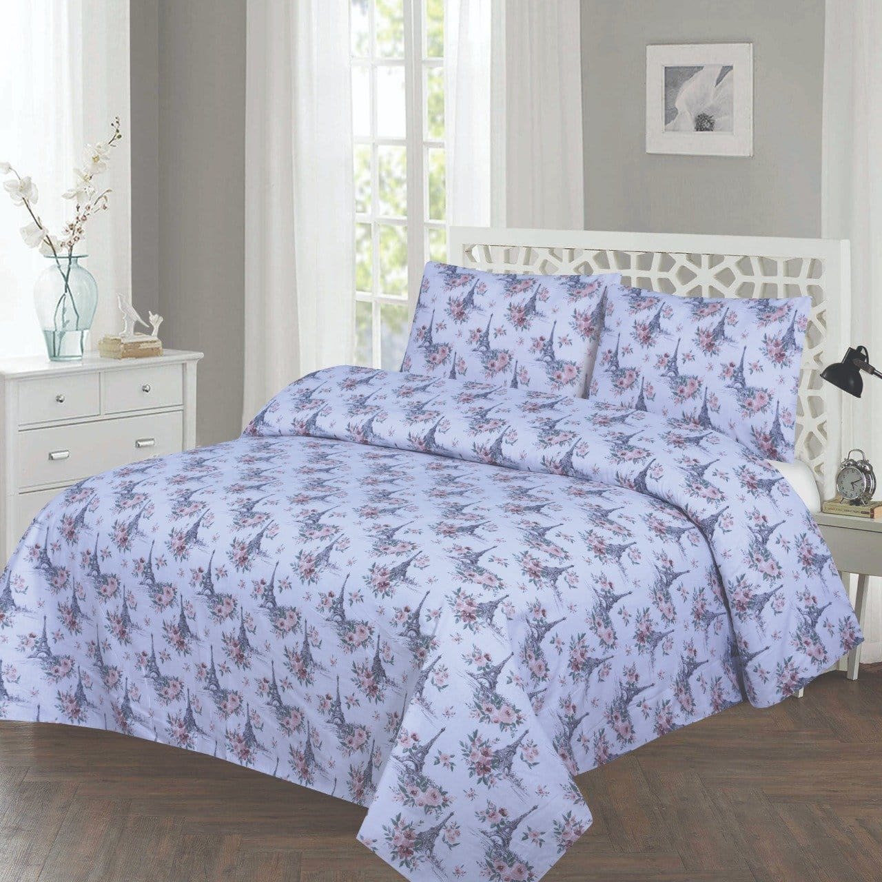 Grace D237-Cotton PC King Size Bedsheet with 2 Pillow Covers.