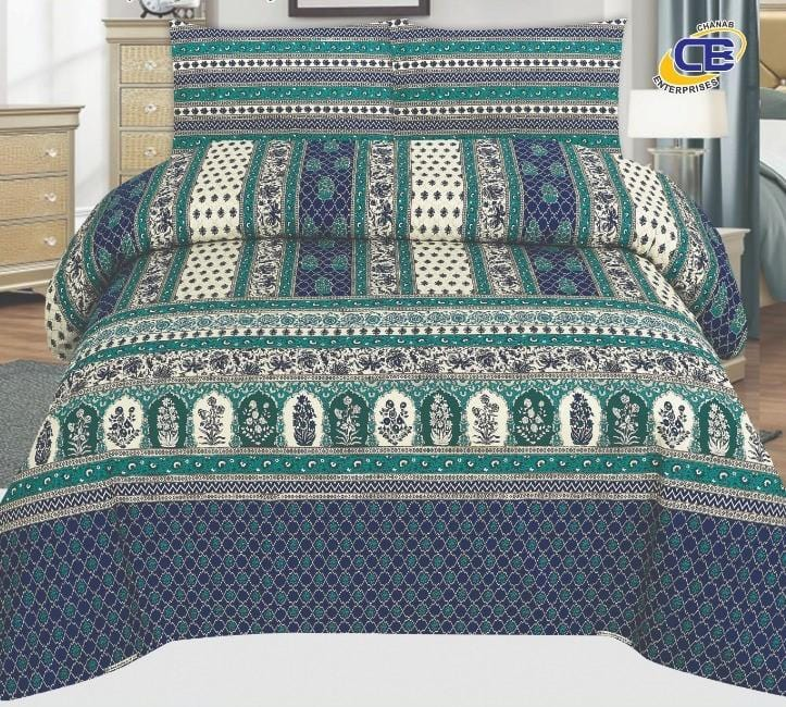Chenab Design 028-Cotton pc king size Bedsheet with 2 pillow covers. - gracestore.pk