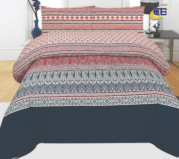 Chenab Design 027-Cotton pc king size Bedsheet with 2 pillow covers. - gracestore.pk