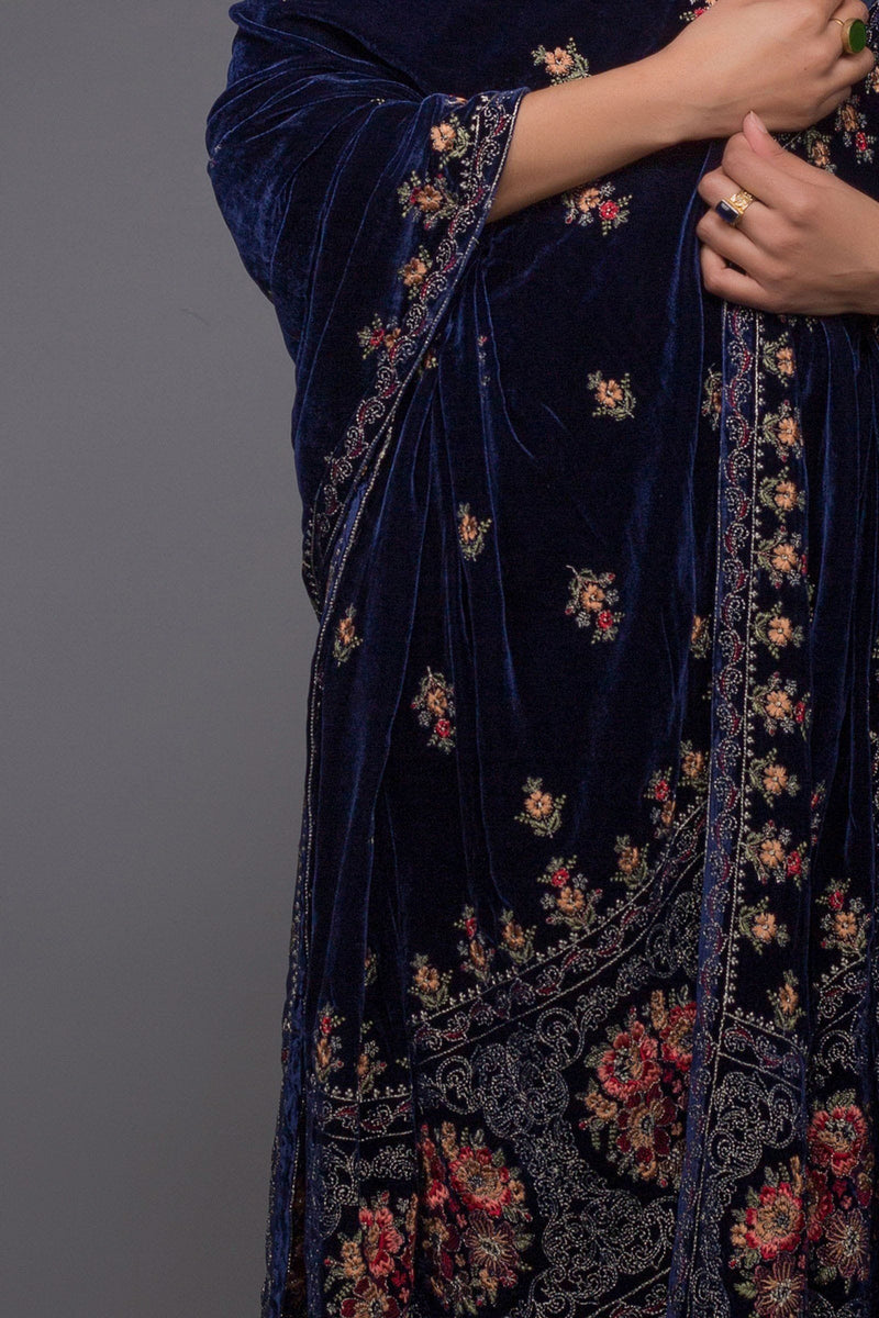 Victorian Range - Embroidered fine Quality Velvet Blue Shawl