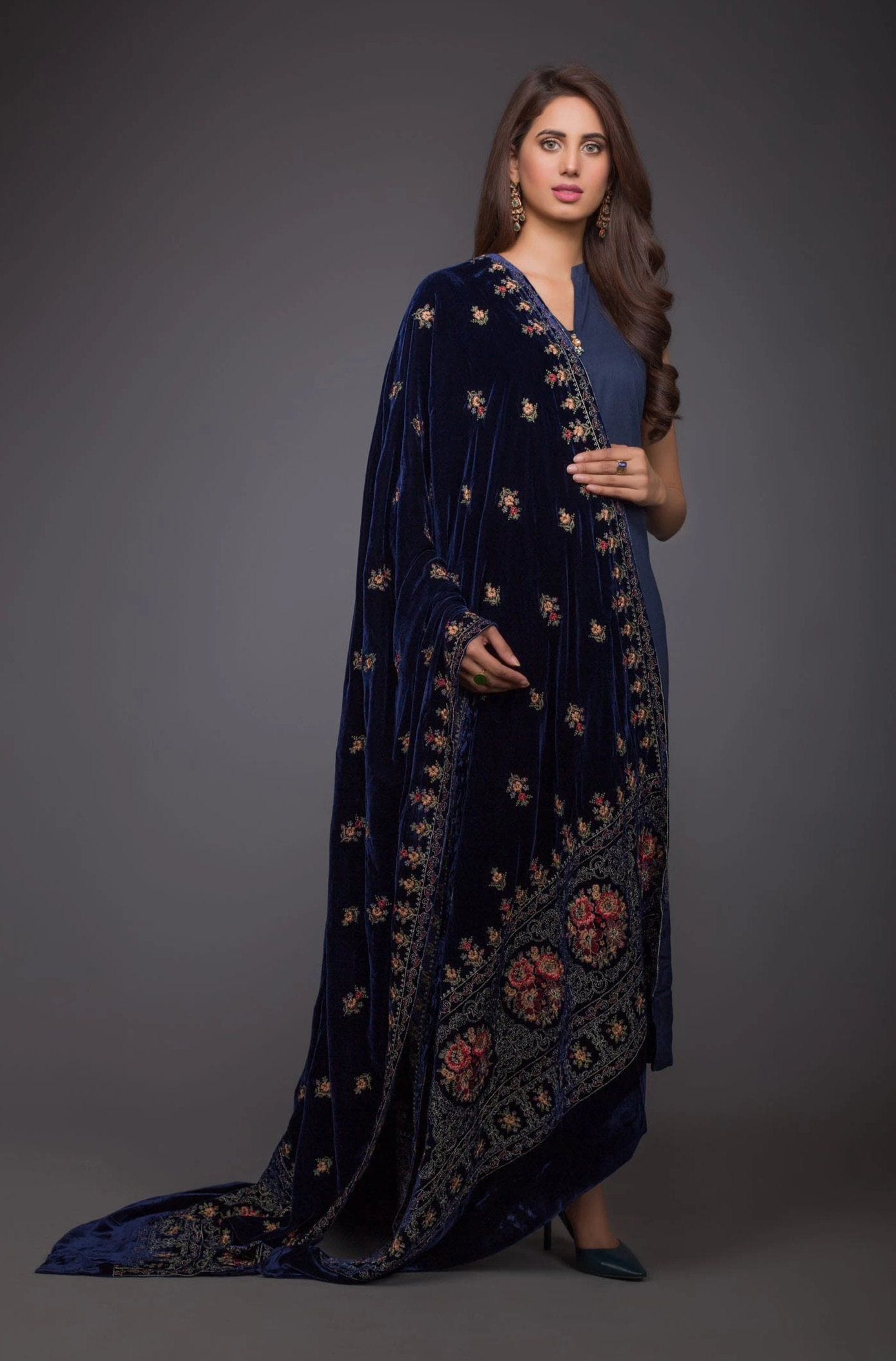 Victorian Range - Embroidered fine Quality Velvet Blue Shawl - gracestore.pk