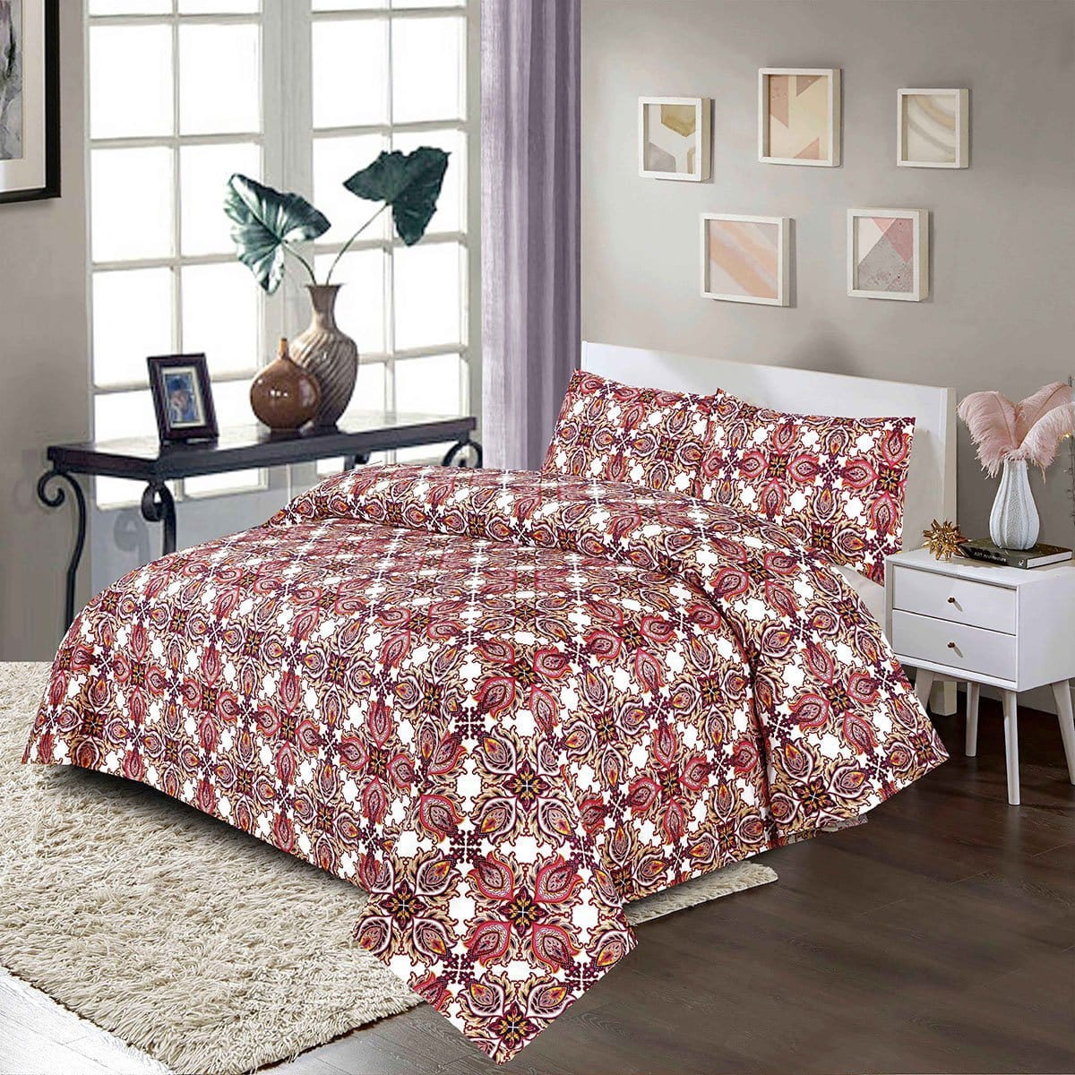 Grace 66 - Reactive cotton Satin Quality king size Bedsheet with 2 pillow covers.