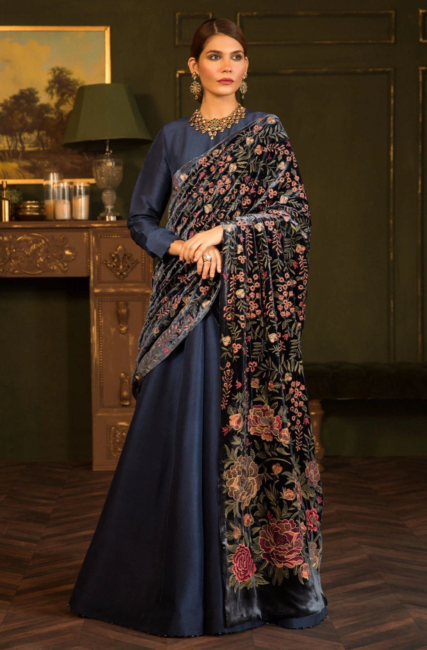 Kimono Range - Embroidered fine quality Velvet Blue Shawl - gracestore.pk