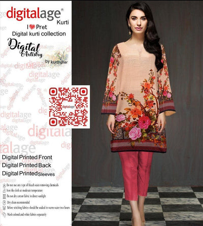 SAU 116-Digital Printed Unstiched khaddar kurti.
