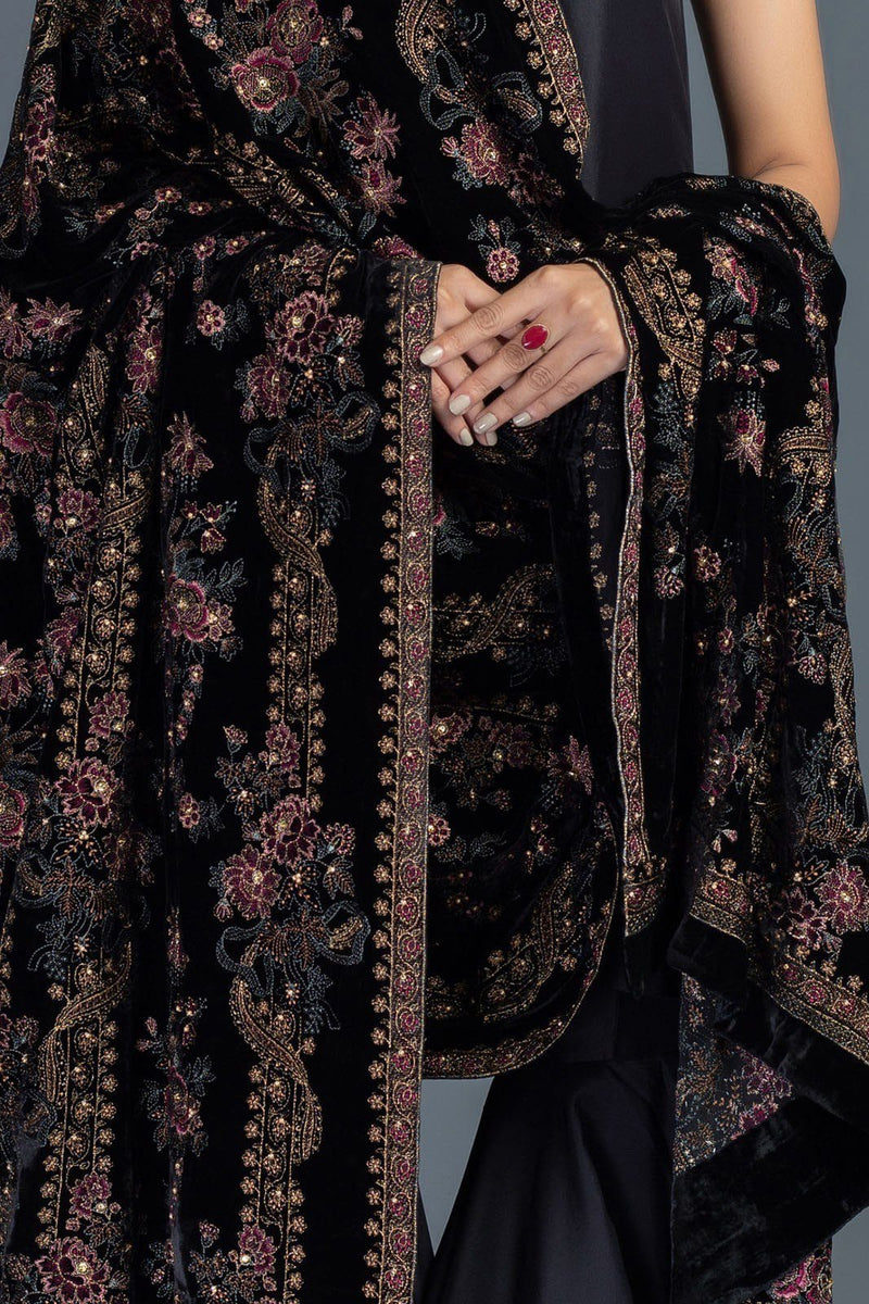 Rose Charm - Formal Heavy Embroidered Fancy Velvet Black Shawl
