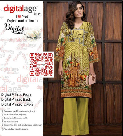 SAU 121-Digital Printed Unstiched khaddar kurti.