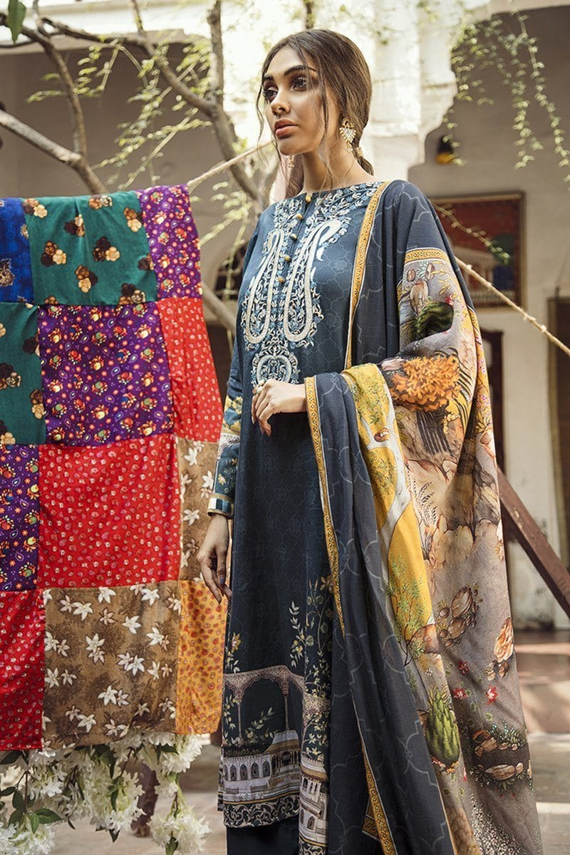 Cross Stitch 18552-Embroided 3pc khaddar dress with wool shawl. - gracestore.pk