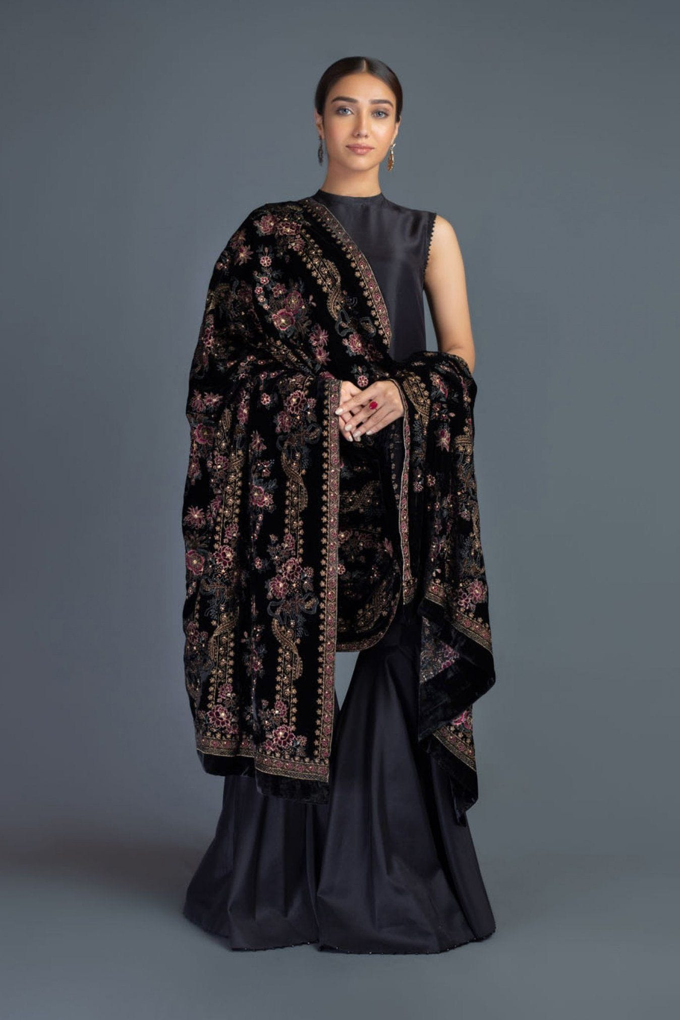 Rose Charm - Formal Heavy Embroidered Fancy Velvet Black Shawl - gracestore.pk