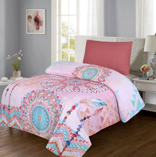 Grace d246-Reactive cotton Satin Quality sigle size Bedsheet with 1 pillow cover.
