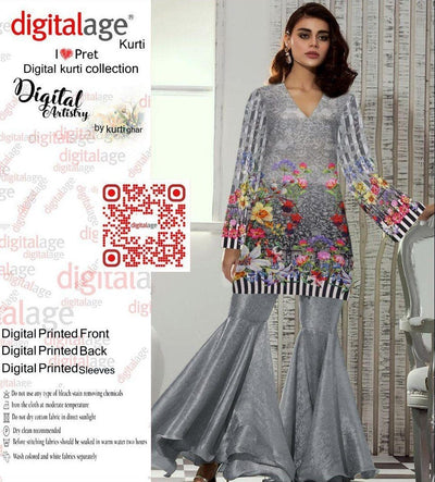 SAU 119-Digital Printed Unstiched khaddar kurti.