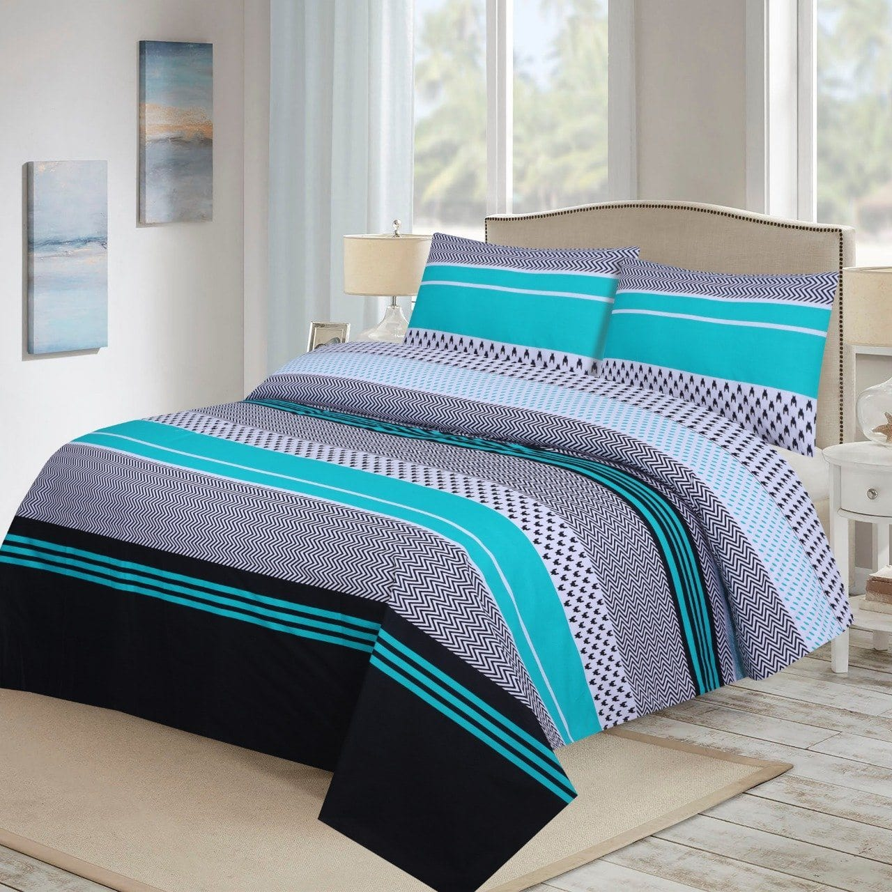 Grace D219-Cotton PC King Size Bedsheet with 2 Pillow Covers.