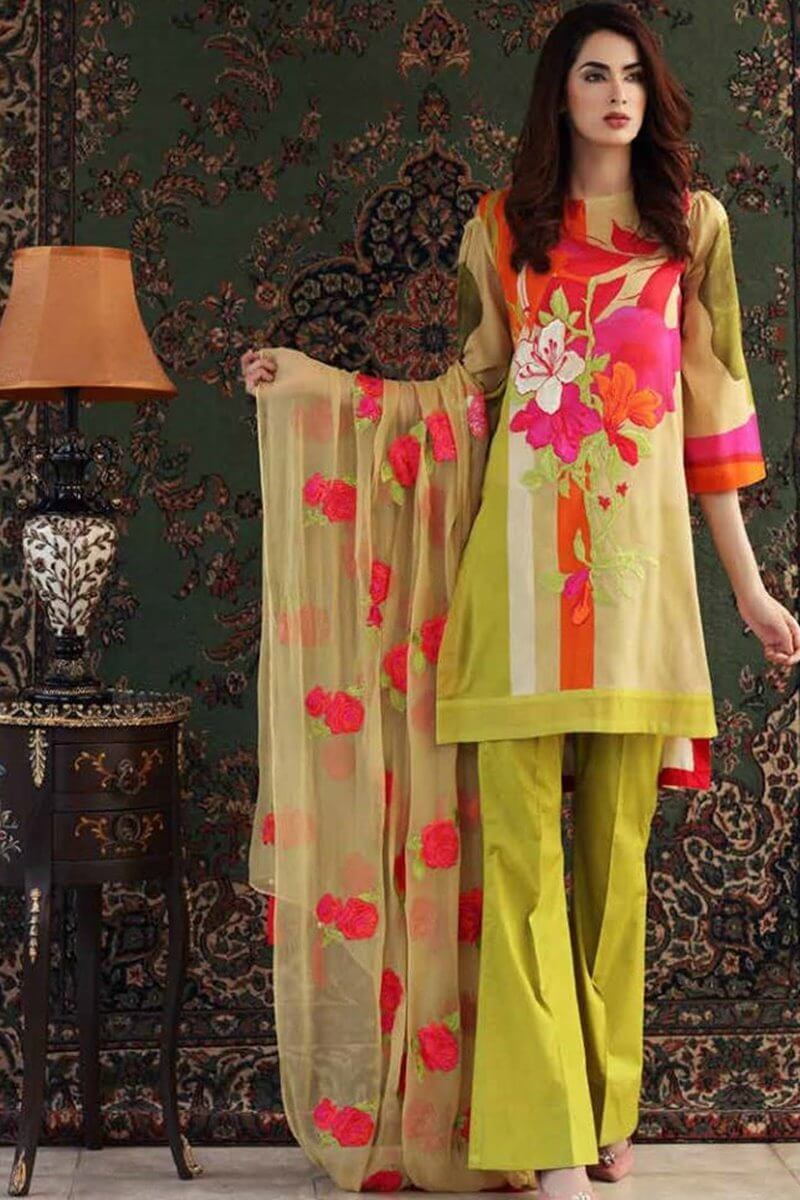 Charizma 18019-Embroided 3pc linen dress with printed shawl. - gracestore.pk