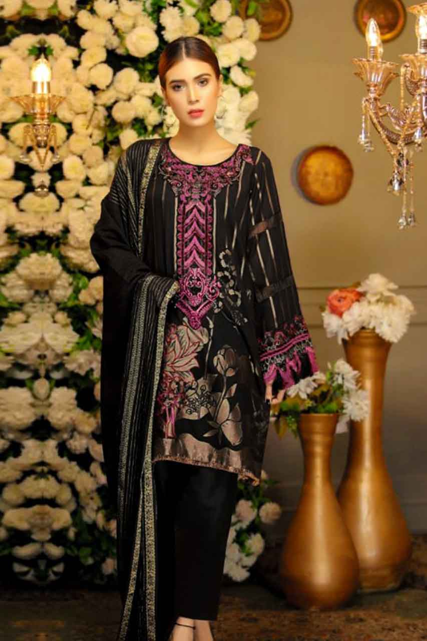 Cross Culture 18311 - Embroidered 3pc lawn dress with printed chiffon dupatta. - gracestore.pk