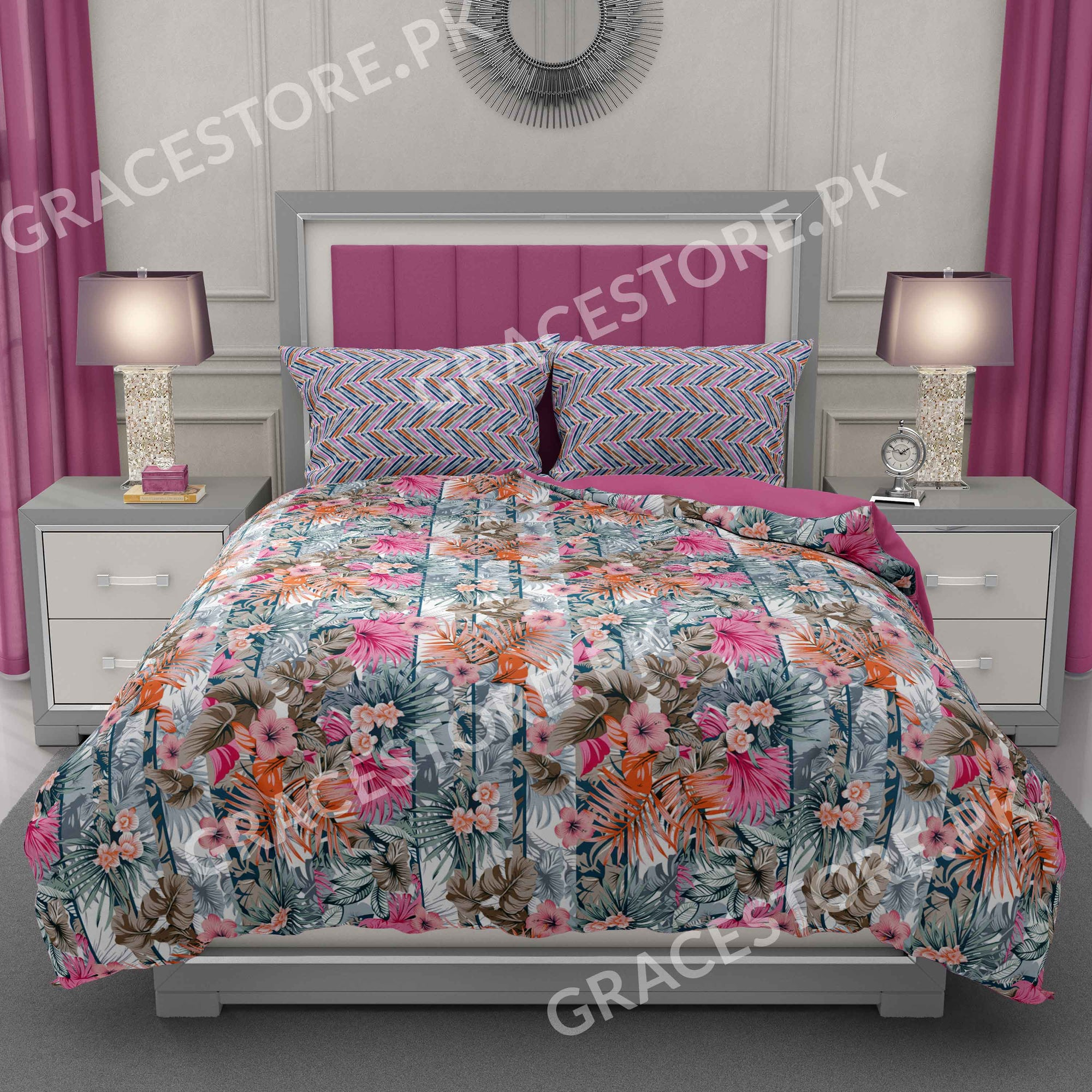 Grace D227 - Cotton pc king size Bedsheet with 2 pillow covers.