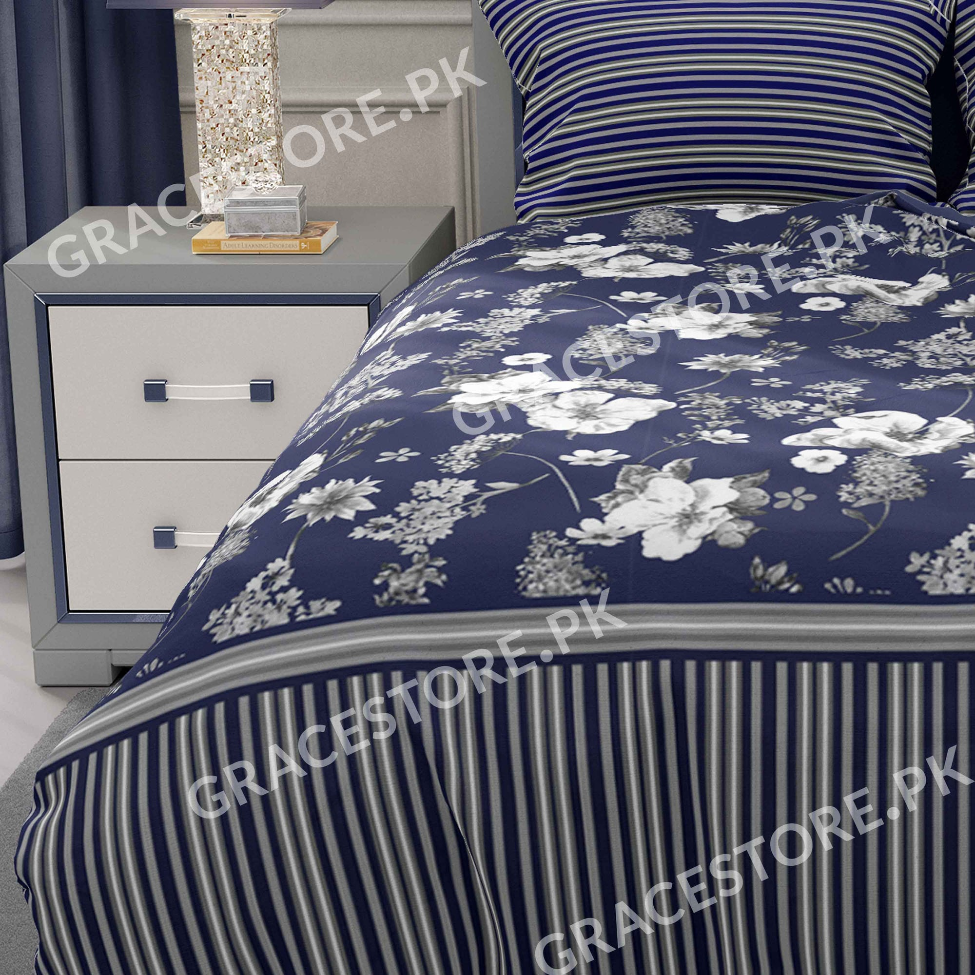 Grace Blue Flower - Cotton pc king size Bedsheet with 2 pillow covers.