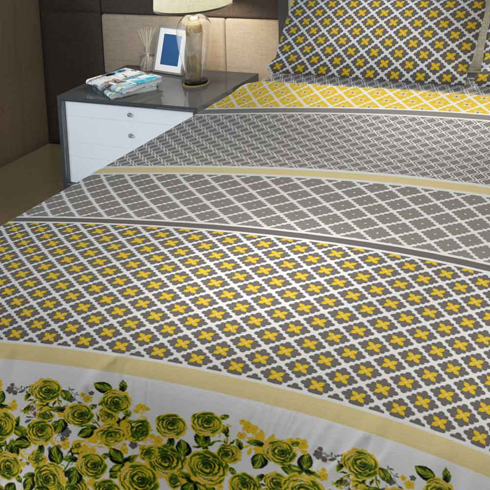 Grace Yellow 632 - Cotton pc king size Bedsheet with 2 pillow covers.