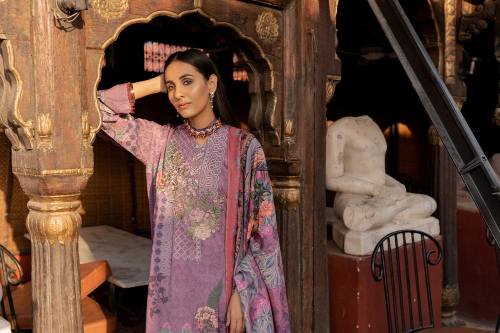 Florent 18575-Embroided 3pc khaddar dress with wool shawl. - gracestore.pk