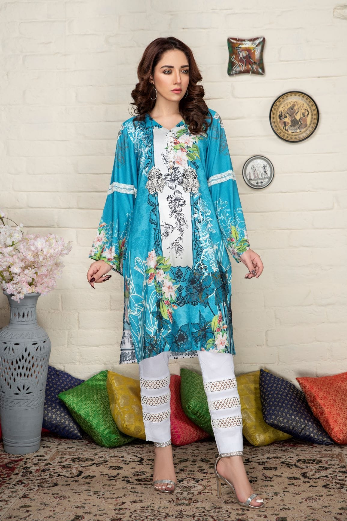 Floral breeze - Minaal Unstitched Kurti - gracestore.pk