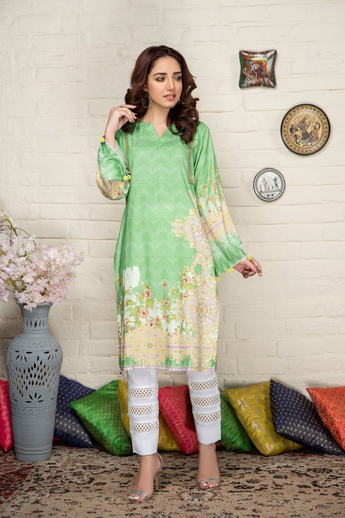 Traditional Intermix - Minaal Unstitched Kurti - gracestore.pk