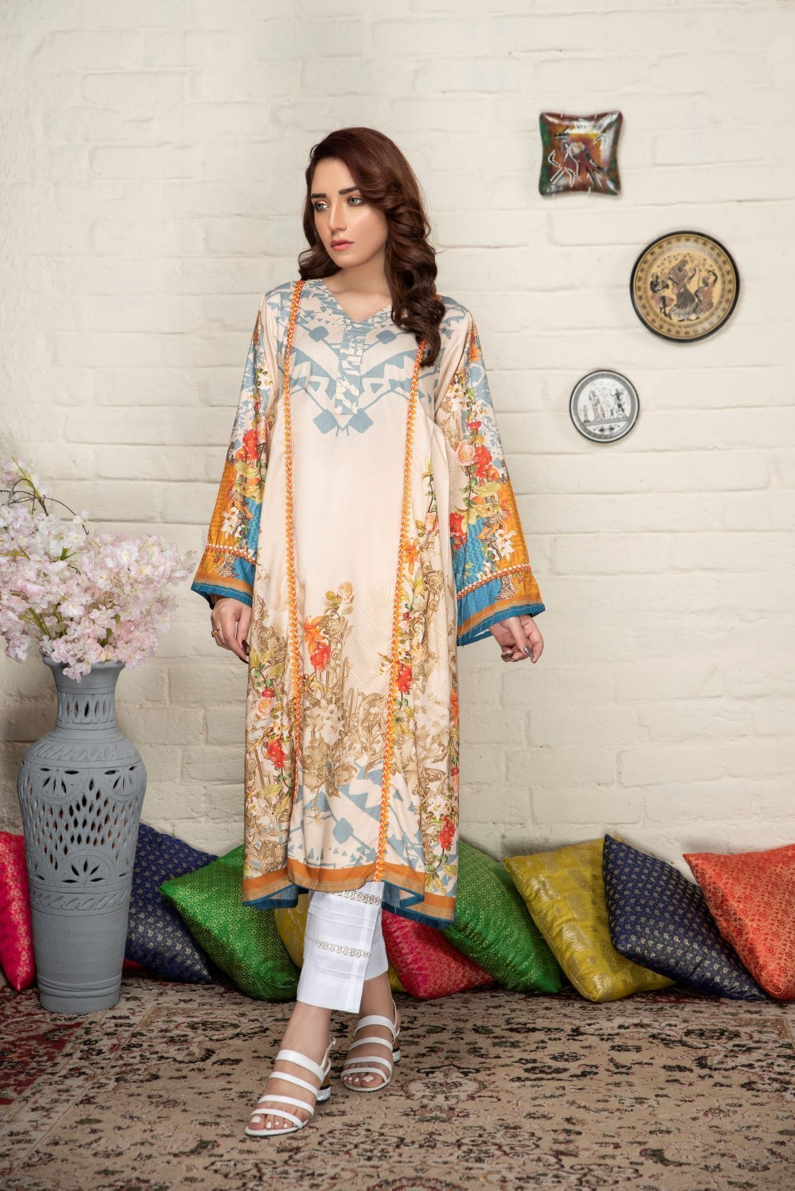Dusty vibes - Minaal Unstitched Kurti - gracestore.pk