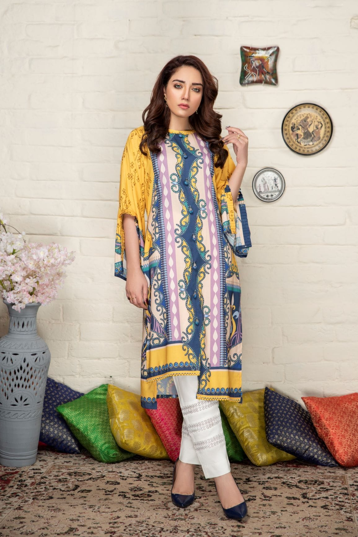 Yellow wonders - Minaal Unstitched Kurti - gracestore.pk