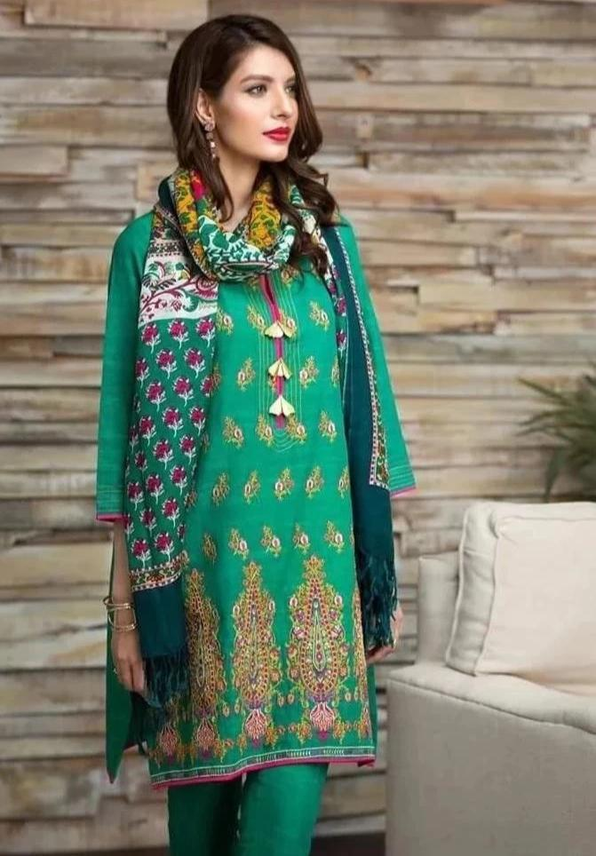 Khaadi zink-Embroided 3PC khaddar Dress with wool shawl. - gracestore.pk