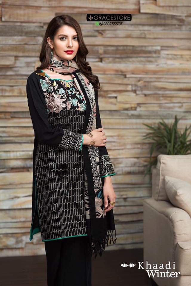 Khaadi black-Embroided 3pc khaddar dress with wool shawl - gracestore.pk