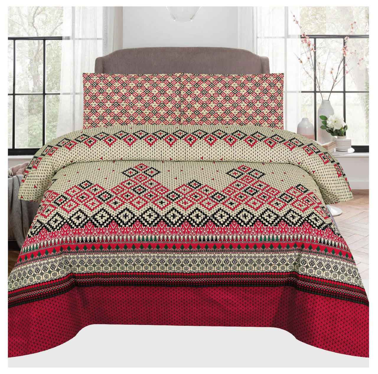 Grace D105- Cotton PC King Size Bedsheet with 2 Pillow Covers.