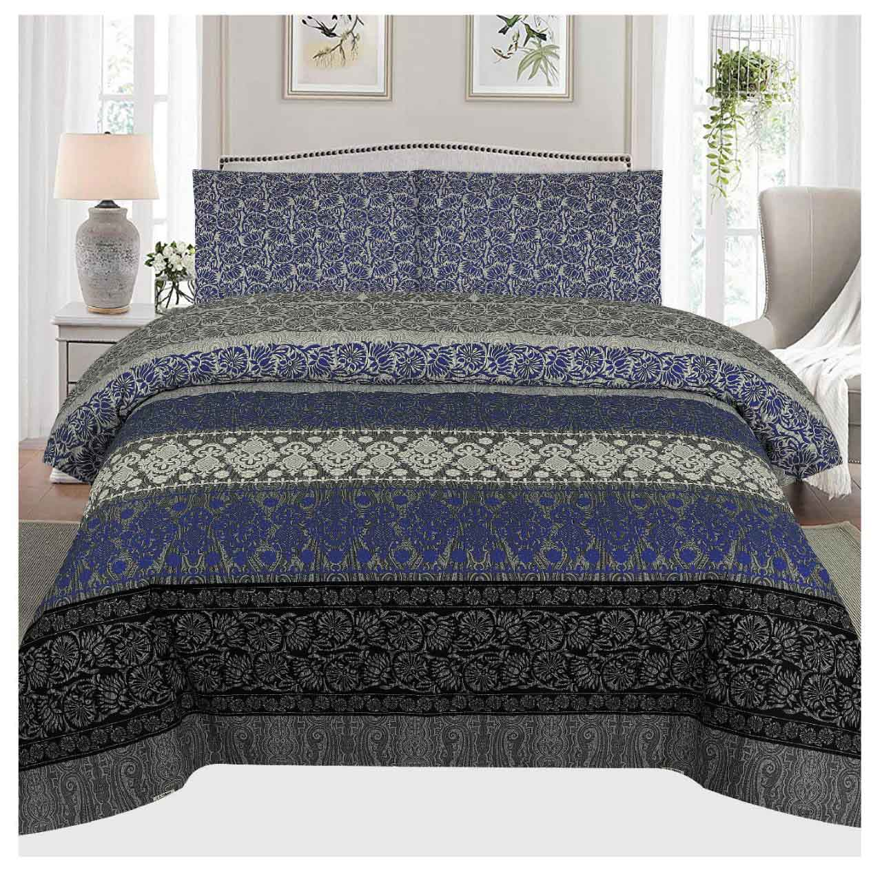 Grace D103 - Cotton PC King Size Bedsheet with 2 Pillow Covers.