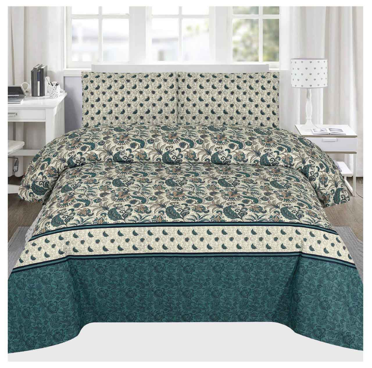 Grace D107 - Cotton PC King Size Bedsheet with 2 Pillow Covers.