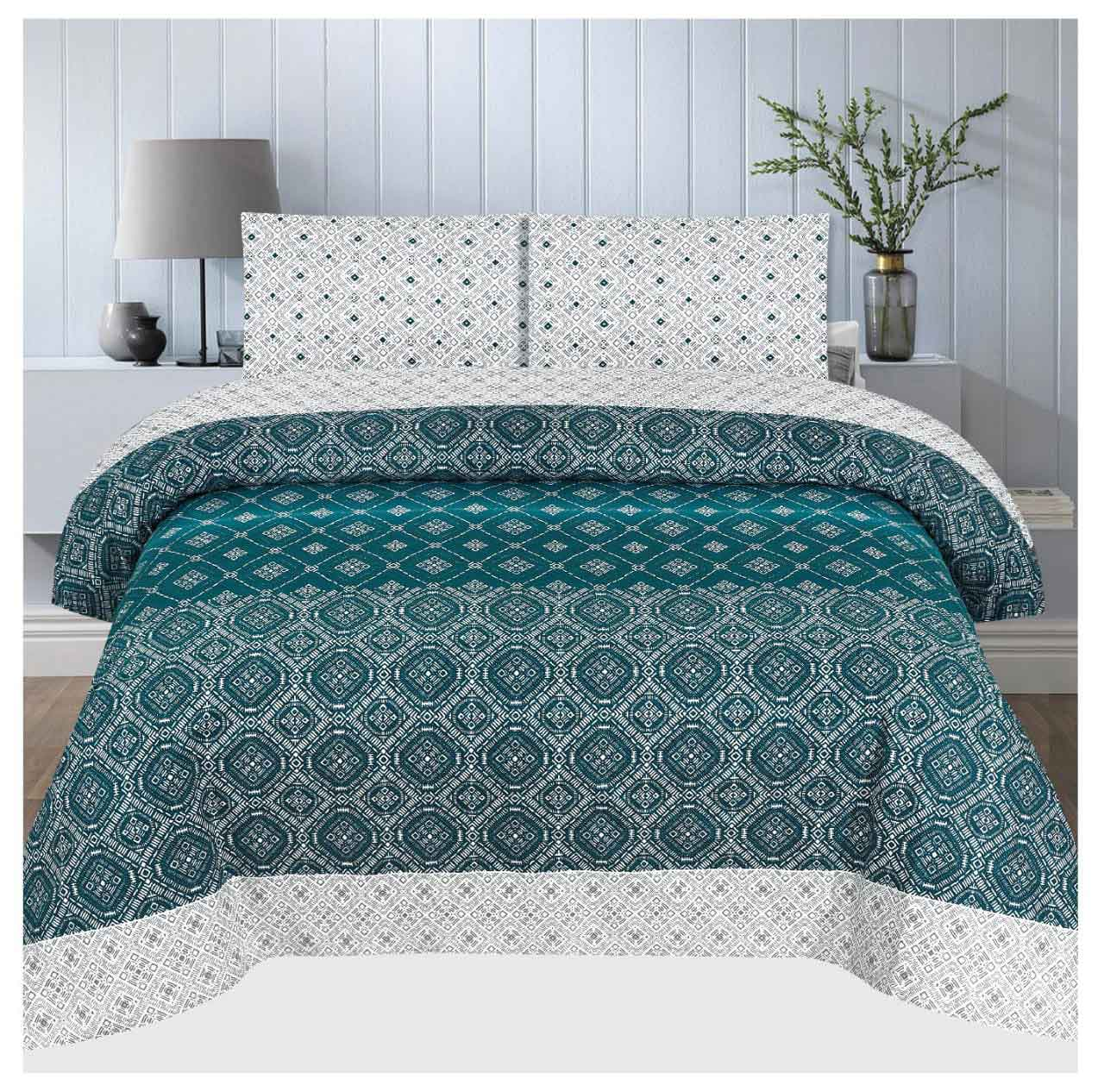 Grace D102 - Cotton PC King Size Bedsheet with 2 Pillow Covers.
