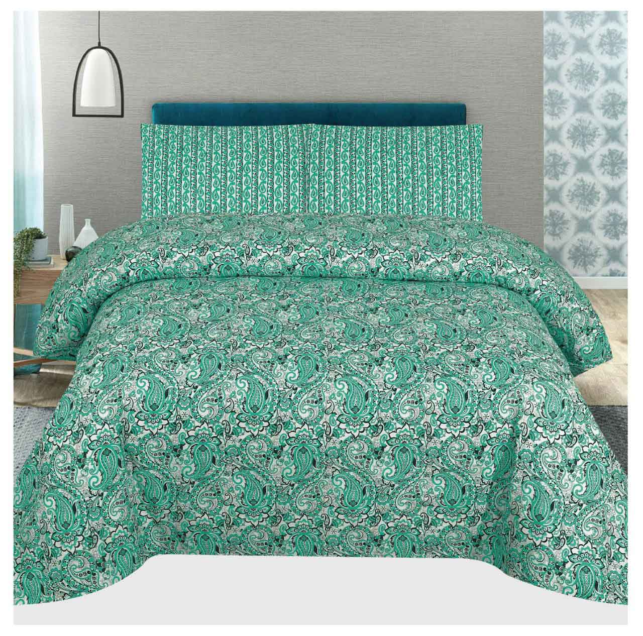 Grace d101 - Cotton PC King Size Bedsheet with 2 Pillow Covers.
