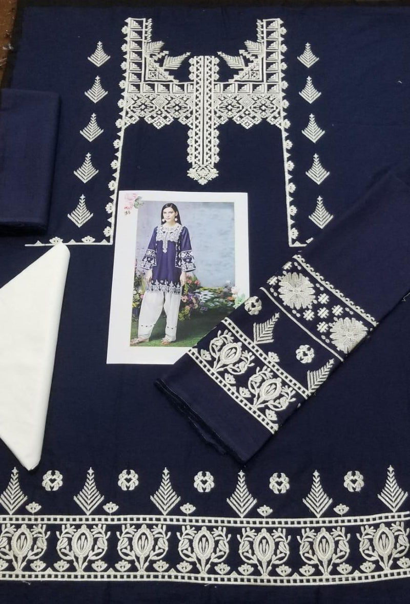 Mausammery Blue L-Embroided 2pc linen dress shirt & trouser - gracestore.pk