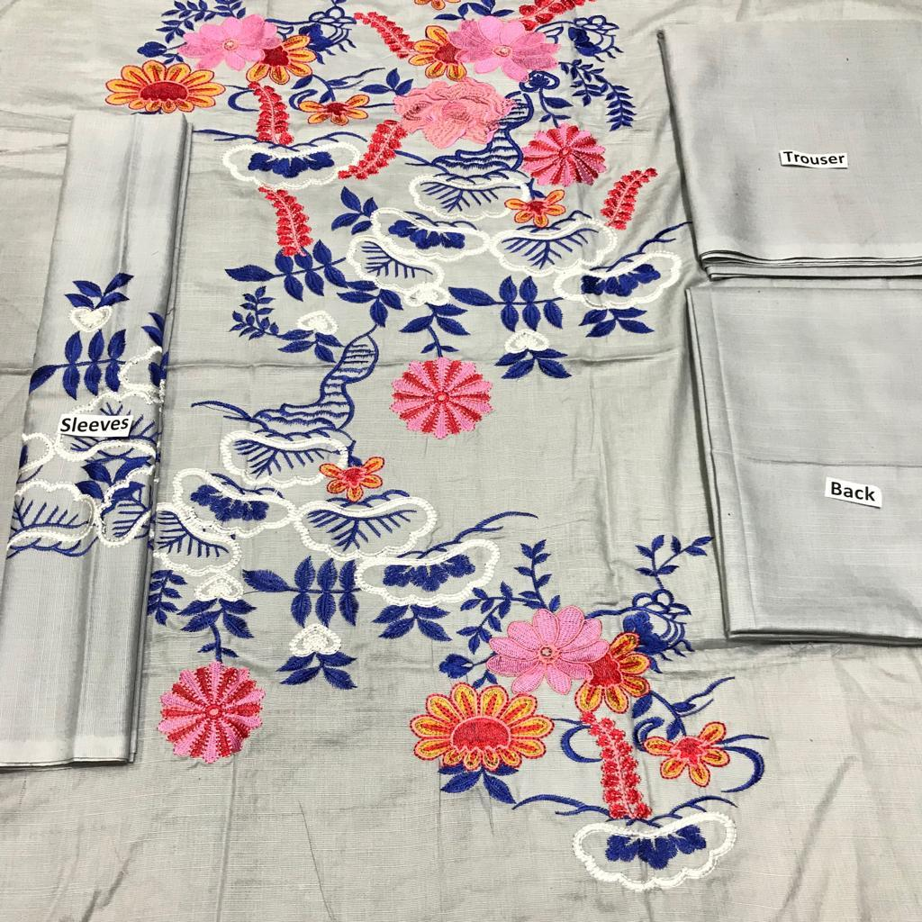 Sarinah D09-Embroided 2pc khaddar dress shirt & trouser. - gracestore.pk