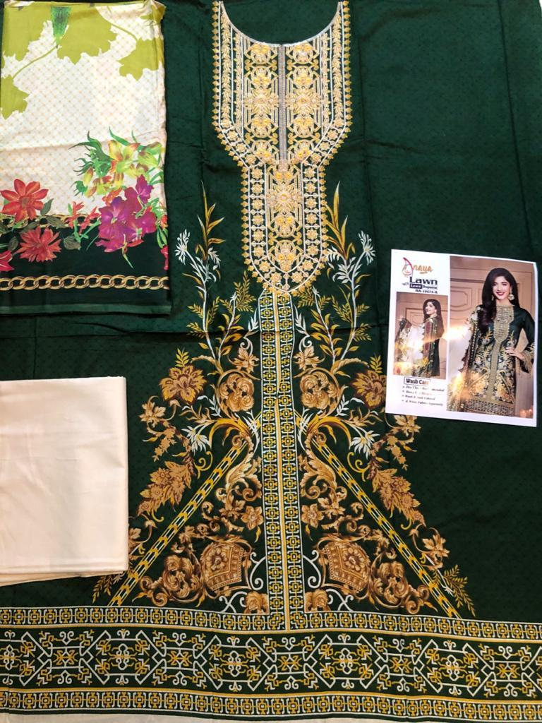 Anaya 18673 A -Embroided 3pc lawn dress with printed lawn  dupatta. - gracestore.pk