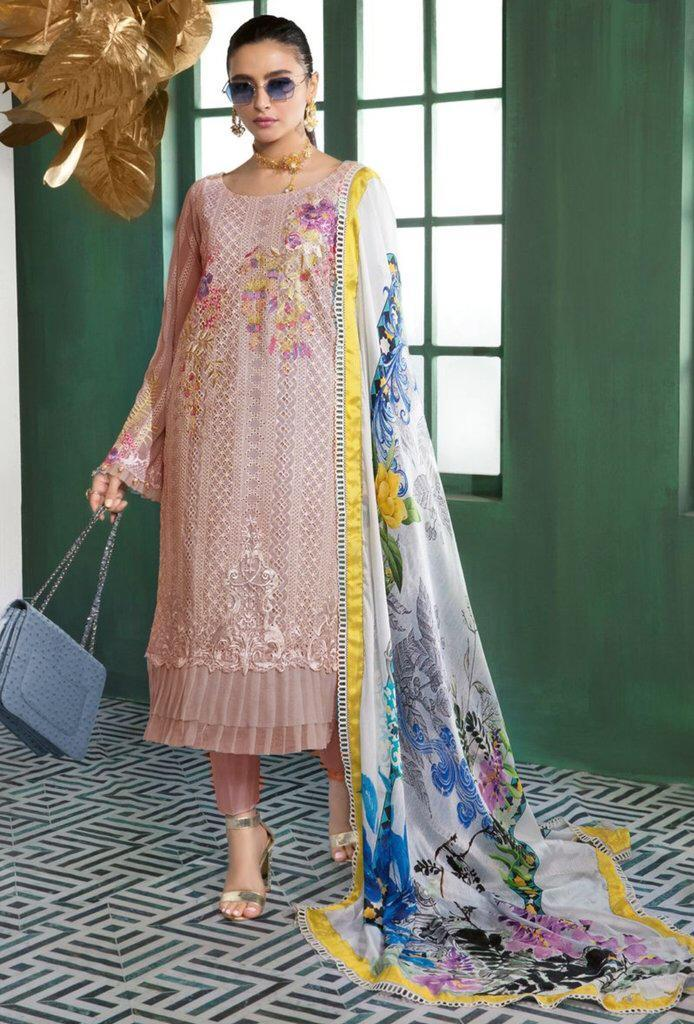 Gul Ahmad 02-Shifli Heavy Embroidered 3pc lawn dress with printed silk dupatta. - gracestore.pk