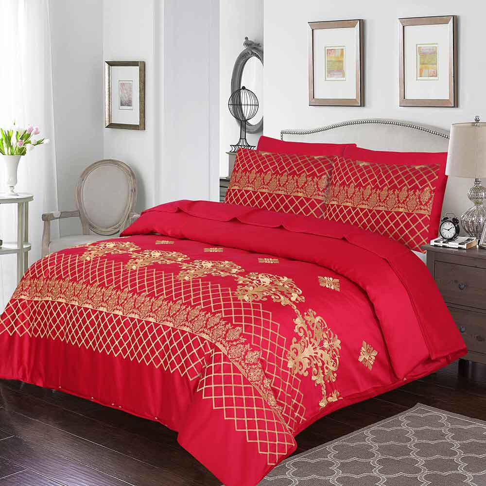 Grace D06 - 6PC Embroidered Luxury Sateen Duvet Cover Set King Size