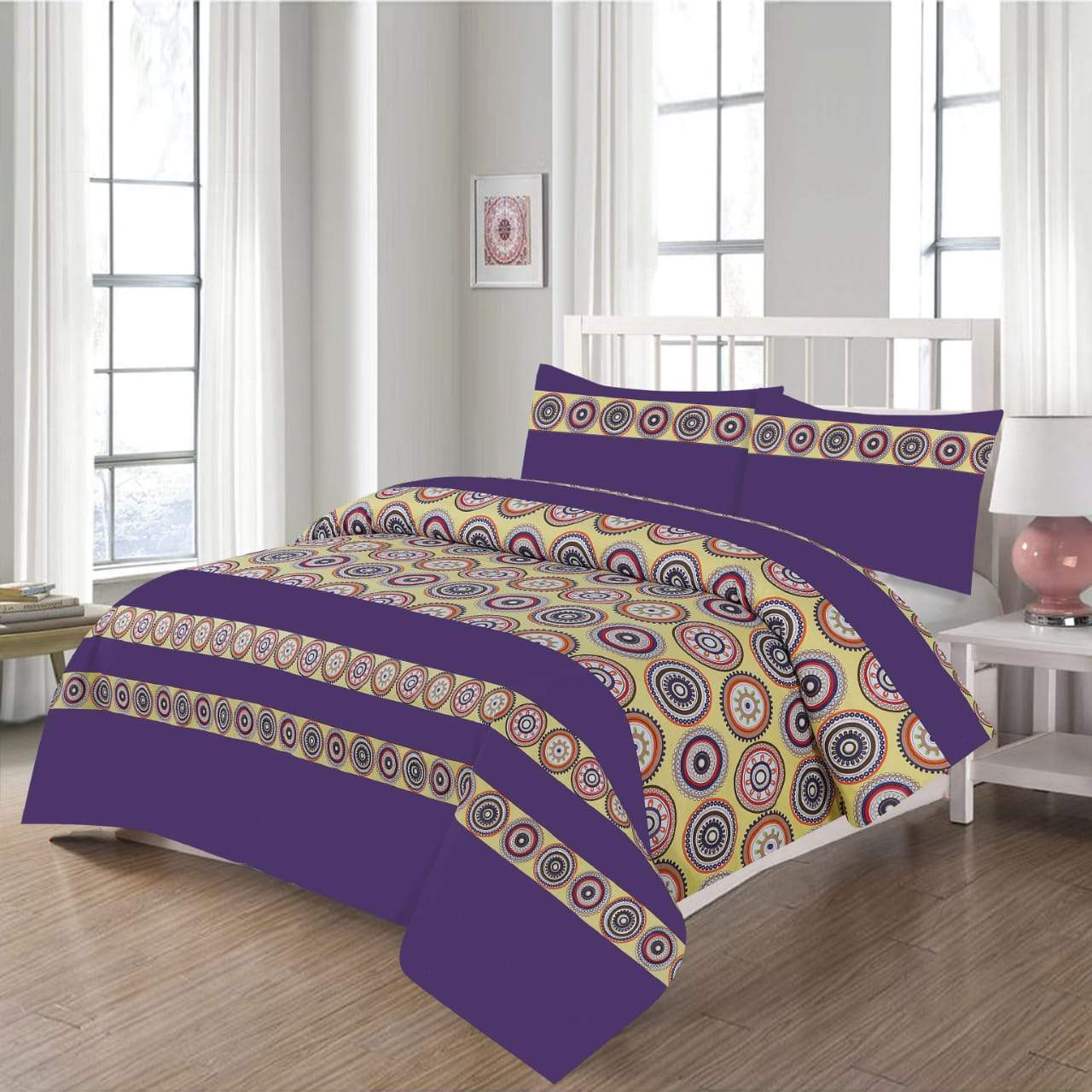 Grace D209-Cotton PC King Size Bedsheet with 2 Pillow Covers.