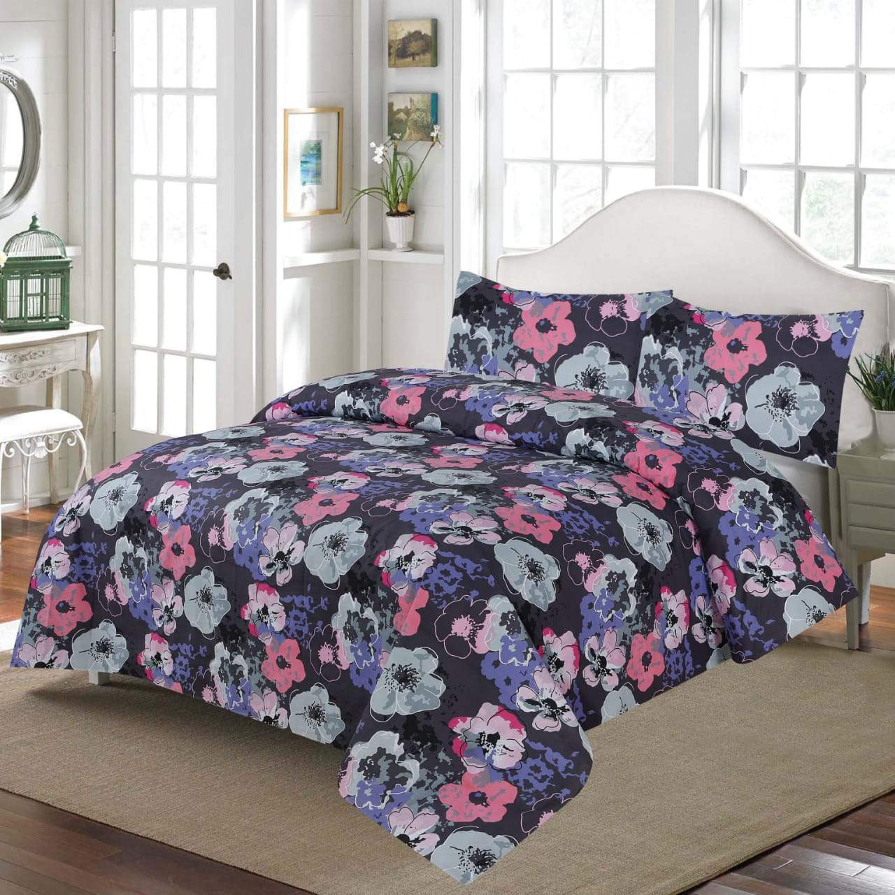 Grace D207-Cotton PC King Size Bedsheet with 2 Pillow Covers.
