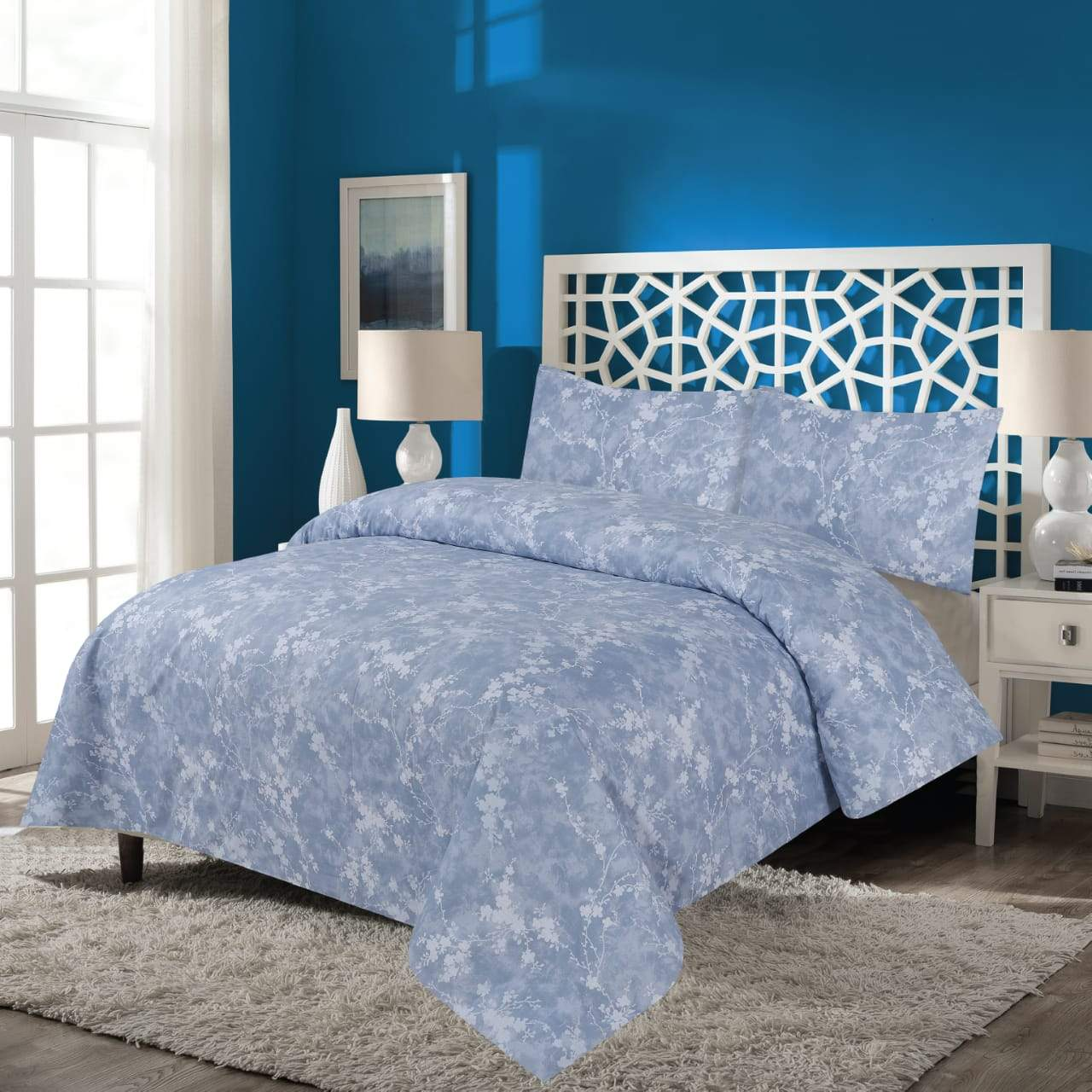 Grace D208-Cotton PC King Size Bedsheet with 2 Pillow Covers.