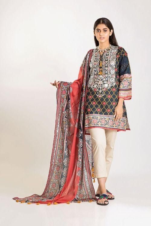 Khaadi 18576 B-Embroided 3pc linen dress with printed wool shawl.